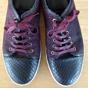 Lanvin Shoes - Lanvin Cap Toe Embossed Leather Suede Sneakers 11